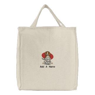 Personalized I Love My Beagle Tote Bag