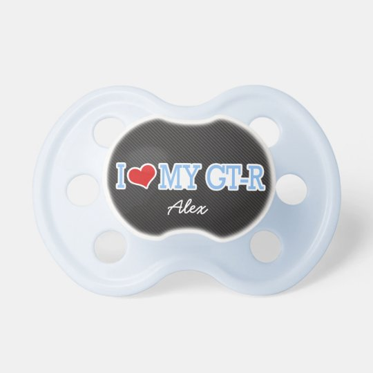 Personalized I Love My GTR - carbon fibre print Pacifier