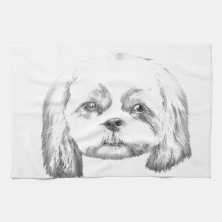 Personalized I Love My Shih Tzu Pencil Sketch Kitchen Towels
