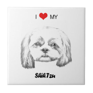 Personalized I Love My Shih Tzu Pencil Sketch Tiles