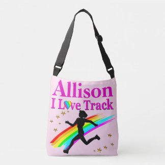 PERSONALIZED I LOVE TRACK PINK CROSS BODY TOTE