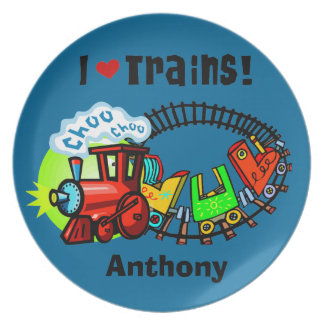 Personalized I Love Trains  Kids Plate