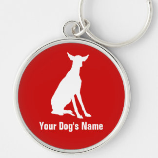 Personalized Ibizan Hound イビザン・ハウンド Silver-Colored Round Keychain