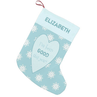 Personalized ice blue Christmas snowflakes Small Christmas Stocking