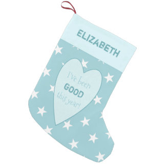 Personalized ice blue Christmas stars Small Christmas Stocking