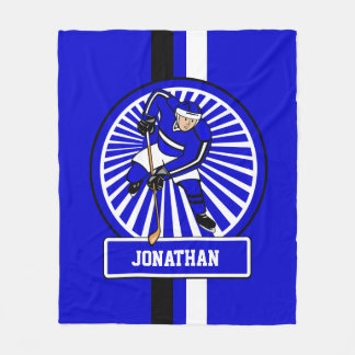 Personalized Ice Hockey Player Blue Fleece Blanket