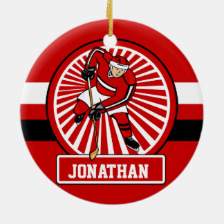 Personalized Ice Hockey player Round Ceramic Ornament