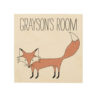 Personalized Illustrated Fox Wood Canvas
