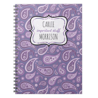 Personalized Important Notebook Purple Paisley