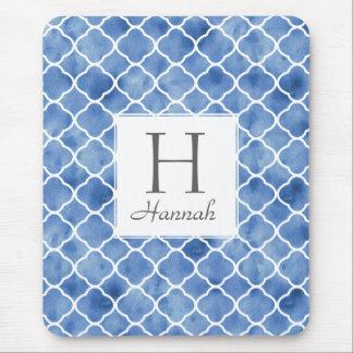 Personalized Indigo Blue White Pattern Mousepad