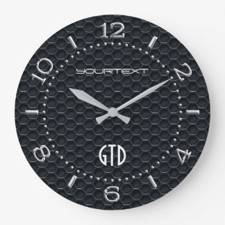 Personalized Industrial Automotive Textures Black Large Clock