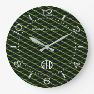 Personalized Industrial Automotive Textures Green Large Clock