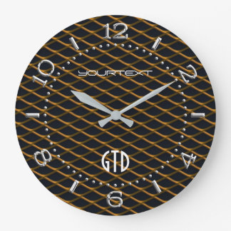 Personalized Industrial Automotive Textures Orange Large Clock