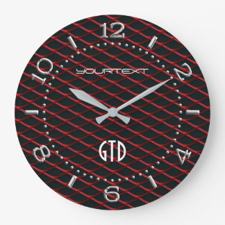 Personalized Industrial Automotive Textures Red on Large Clock
