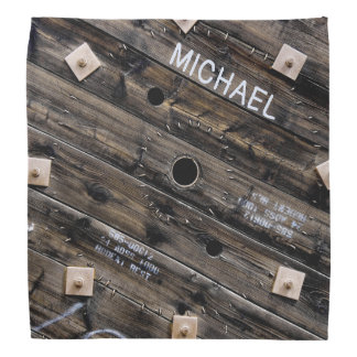 Personalized Industrial Rustic Wood Bandana