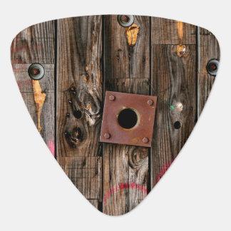 Personalized Industrial Rustic Wood Guitar Pick