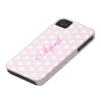 Personalized initial A girls name hearts pink cute Case-Mate iPhone 4 Cases
