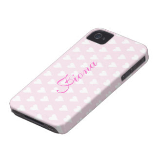 Personalized initial F girls name hearts pink cute iPhone 4 Case-Mate Cases