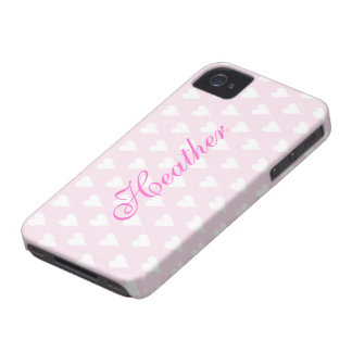 Personalized initial H girls name hearts pink cute Case-Mate iPhone 4 Cases