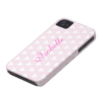 Personalized initial I girls name hearts pink cute Case-Mate iPhone 4 Cases