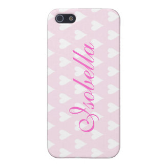 Personalized initial I girls name hearts pink iPhone 5 Cases
