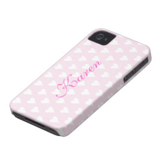 Personalized initial K girls name hearts pink cute iPhone 4 Case-Mate Case