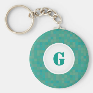 Personalized initial keychain in green mosaic