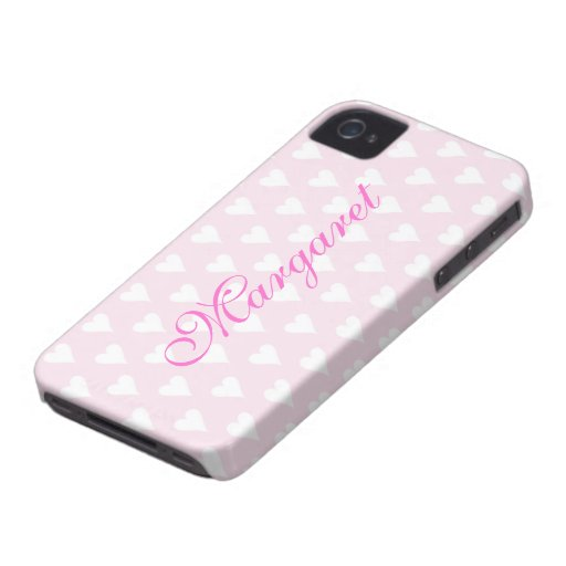 Personalized initial M girls name hearts pink cute Blackberry Bold Covers