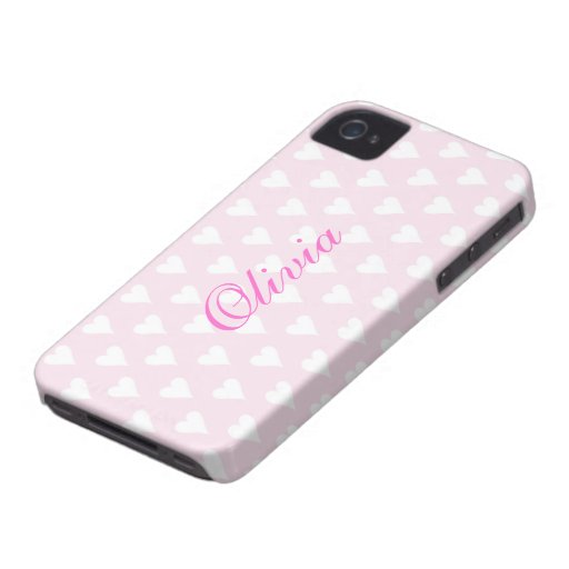 Personalized initial O girls name hearts pink cute Blackberry Bold Case