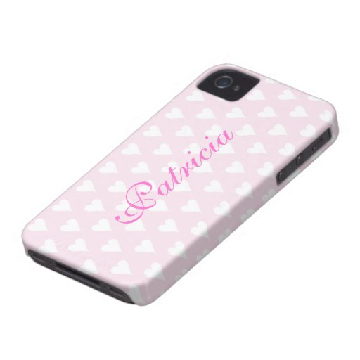 Personalized initial P girls name hearts pink cute Blackberry Case