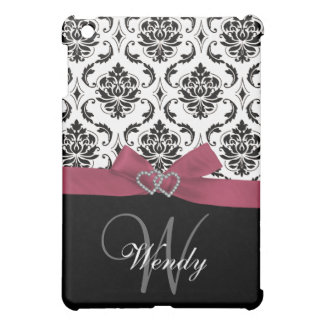 Personalized Initial, Pink, Black Damask iPad Mini Cover