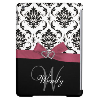 Personalized Initial, Pink, Black Damask Pattern Case For iPad Air