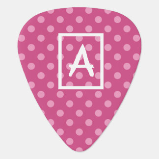 Personalized initial pink polka dots guitar pick