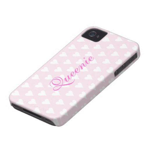 Personalized initial Q girls name hearts pink cute iPhone 4 Case-Mate Case