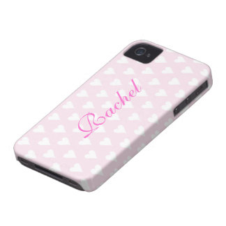 Personalized initial R girls name hearts pink cute Case-Mate iPhone 4 Case