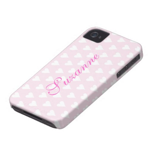 Personalized initial S girls name hearts pink cute Blackberry Cases