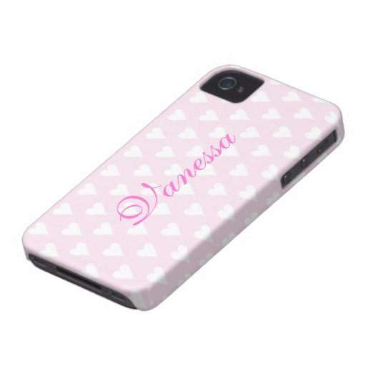 Personalized initial V girls name hearts pink cute Case-Mate Blackberry Case