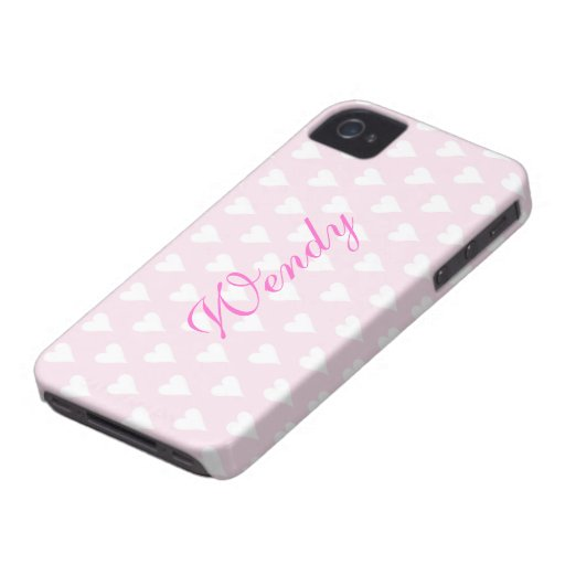 Personalized initial W girls name hearts pink cute Blackberry Bold Case