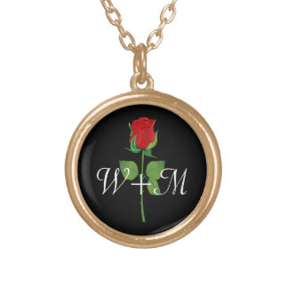 Personalized Initials Red Rose Love Valentines Day Round Pendant Necklace