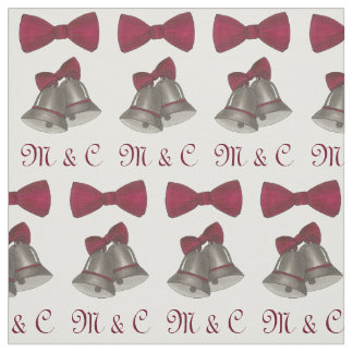 Personalized Initials Silver Bells Wedding Bride Fabric