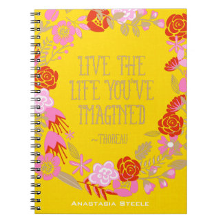 Personalized Inspiration Live Life Imagined Quote Notebooks