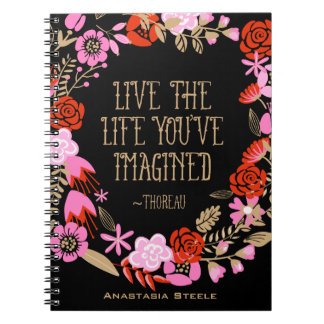 Personalized Inspiration Live Life Imagined Quote Spiral Notebook