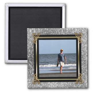 Personalized Instagram Photo Gold Silver Glitter Magnet