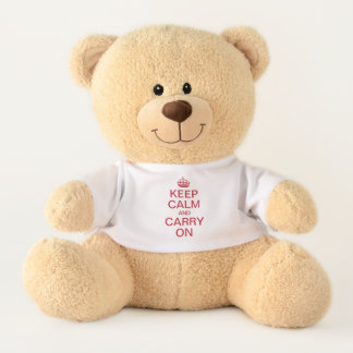 Personalized internet meme KEEP CALM and CARRY ON Teddy Bear