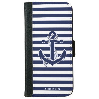 Personalized iPhone 6 Wallet Cases Nautical Anchor