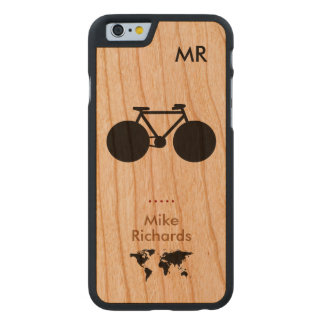 personalized iPhone 6 with black bike on wood Carved Cherry iPhone 6 Case