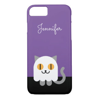 Personalized iPhone 7 Case: Halloween Ghost Cat iPhone 7 Case