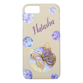 Personalized iPhone Case with Butterfly and Dots