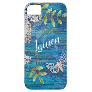 Personalized iPhone Case with Moth and Flowers