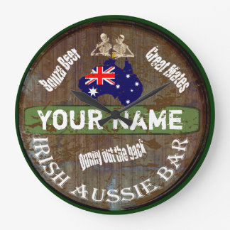 Personalized Irish Australian pub sign Large Clock